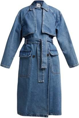 MSGM Oversized denim trench coat