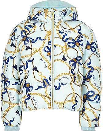 Girls Blue chain print hooded puffer jacket