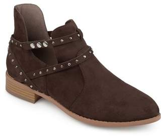 Co Brinley Women's Faux Suede Studded Wrap Strap Side Cut-out Pointed Toe Ankle Booties