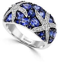 Effy 0.24 TCW Diamond and Sapphire 14K White Gold Starfish Ring