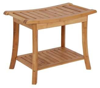 Kinbor Bamboo Shower Bench Bath Spa Seat w/ Storage Shelf Organizer