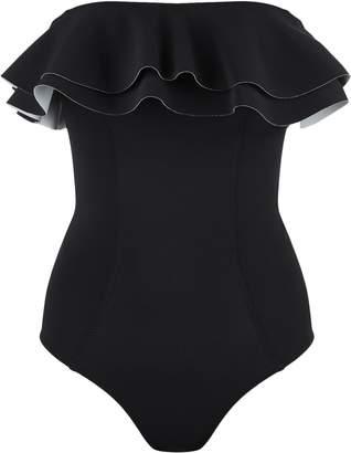 Lisa Marie Fernandez Bandeau Double Ruffle Swimsuit