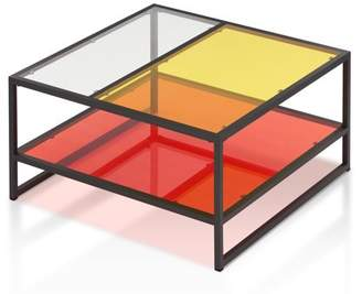 clear Furniture of America Aric Contemporary Glass Coffee Table, Red, Yellow &