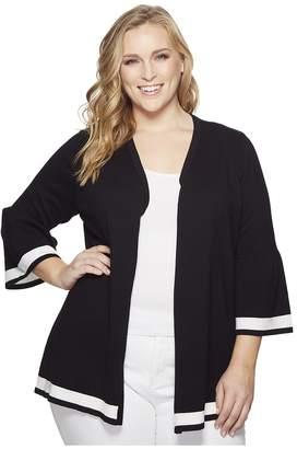 Calvin Klein Plus Plus Size Bell Sleeve Cardigan w/ Stripe Hem Women's Long Sleeve Pullover