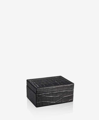GiGi New York Small Box Black Crocodile Embossed Leather