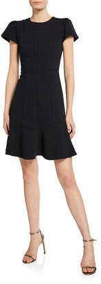 Rebecca Taylor Short-Sleeve Stretch Textured Dress