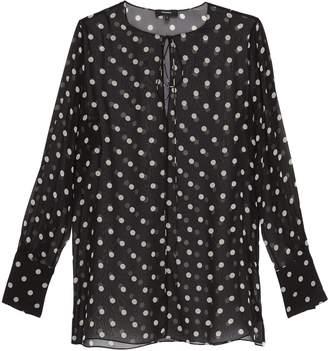 Theory Tie neck polka dot print oversized silk tunic top