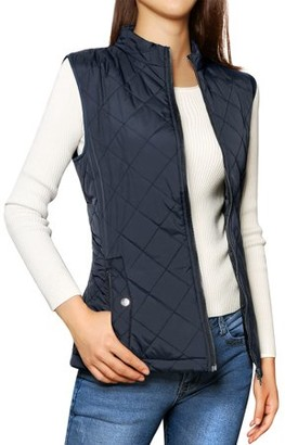 Unique Bargains Woman Zip Closure Stand Collar Lightweight Quilted Vest Jacket Dark Blue L