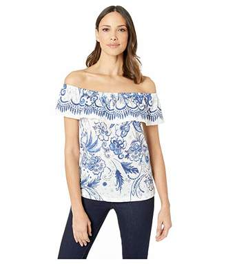 Tribal Printed Crinkle Knit Off Shoulder Top with Frill