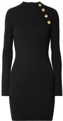 Balmain Button-embellished Ribbed-knit Mini Dress - Black