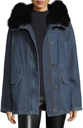 Yves Salomon Army Fur-Trim Cotton Parka Coat