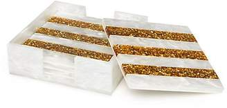 Edie Parker Set of Four Striped Acrylic Square Coasters