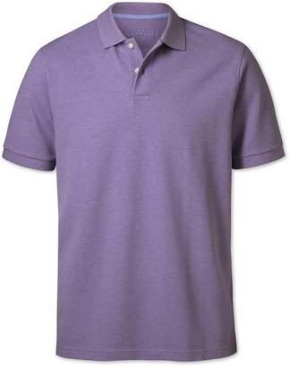 Charles Tyrwhitt Lilac Melange Pique Cotton Polo Size XXXL