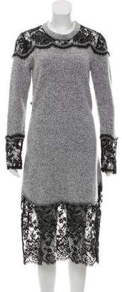 Thakoon Knit Lace Accented Long Sleeve Midi Dress