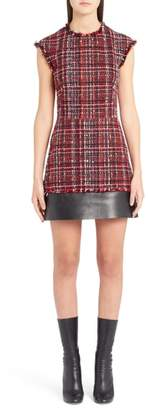 Alexander McQueen Leather Trim Tweed Minidress