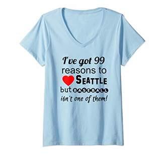 Womens Seattle Home of Bad Baseball Tshirt 99 Reasons V-Neck T-Shirt