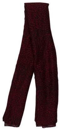 Saint Laurent Printed Cashmere-Silk Blend Scarf Red Printed Cashmere-Silk Blend Scarf