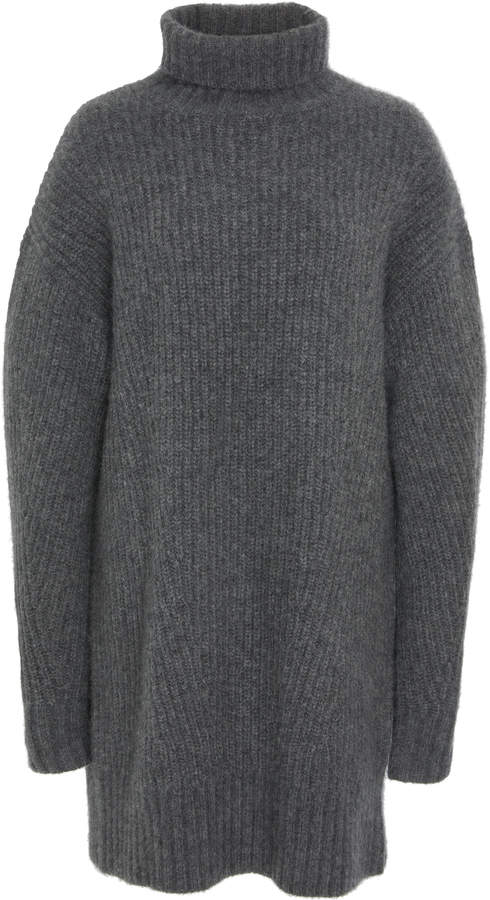 Sally LaPointe Ribbed Cashmere And Silk-Blend Turtleneck Sweater Dress