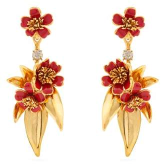Oscar de la Renta Delicate Flower Gold Plated Drop Clip On Earrings - Womens - Red