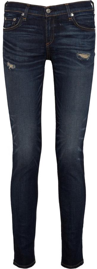 Rag and Bone Rag & bone JEAN Distressed mid-rise skinny jeans