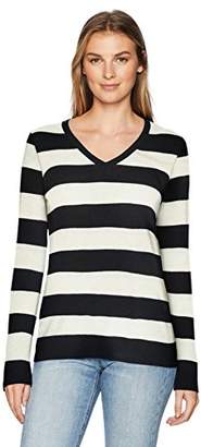Amazon Essentials Women's Lightweight V-Neck Stripe Sweater