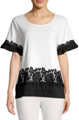 Karl Lagerfeld Paris Lace Short Sleeve Blouse