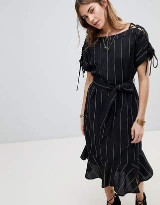 Moon River Stripe Linen Mix Dress