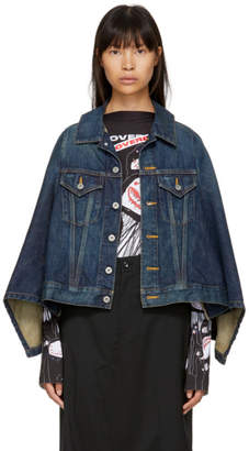 Junya Watanabe Indigo Denim Cape Effect Jacket