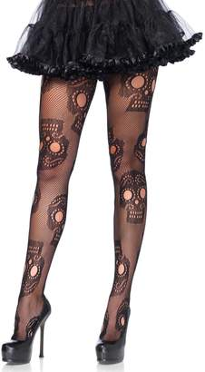 Leg Avenue Womens Plus Size Sugar Skull Fishnet Tights