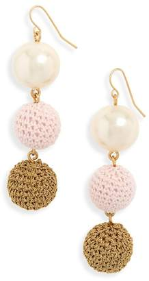 J.Crew J. Crew Crochet Ball and Imitation Pearl Drop Earrings