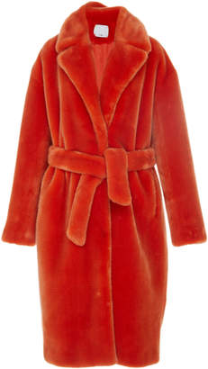Tibi Luxe Faux Fur Trench