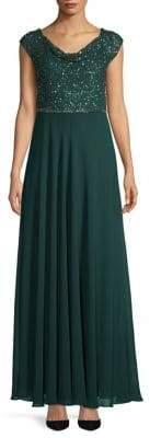 J Kara Sequin Cowlneck Gown