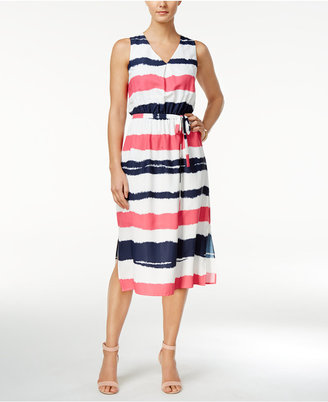 Nine West Striped Self-Tie Midi Dress $89 thestylecure.com