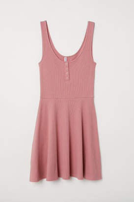 H&M Ribbed Jersey Dress - Pink