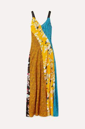 Diane von Furstenberg Paneled Printed Silk Crepe De Chine Maxi Dress - Yellow