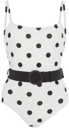 Solid & Striped Nina Belted Polka Dot One-Piece Swimsuit