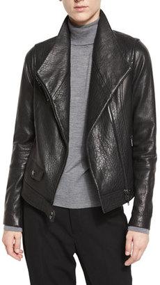 Vince Leather Asymmetric Moto Jacket, Black $1,050 thestylecure.com