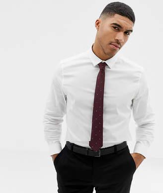 Asos DESIGN white slim shirt and polka dot burgundy tie pack save