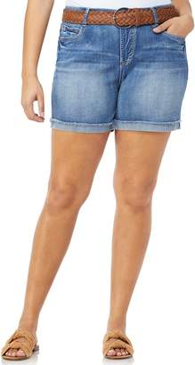 Juniors' Plus Size Wallflower Mid-Rise Belted Luscious Curvy Jean Shortie Shorts