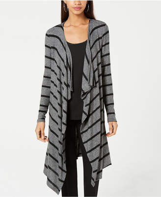 BCX Juniors' Draped Striped Duster Cardigan