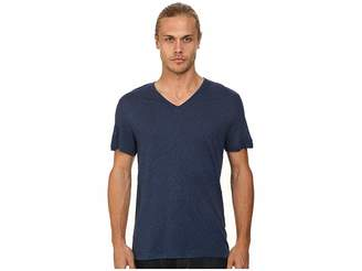 John Varvatos Short Sleeve Knit V-Neck with Pintuck Seam Details