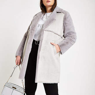 River Island Plus grey suede faux fur trim longline coat