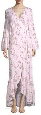 Floral-Print Wrap Hi-Lo Dress
