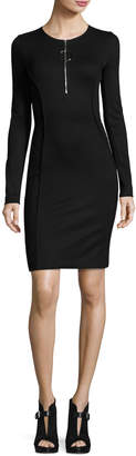 Thierry Mugler Long-Sleeve Half-Zip Mini Dress, Black