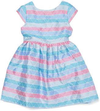 Joe-Ella MELODY パターンボーダー 半袖 バックリボン ベルテッド ドレス ピンク/ブルー 3
