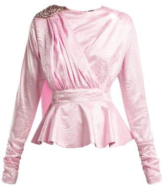 Dodo Bar Or - Grace Crystal Embellished Peplum Top - Womens - Light Pink