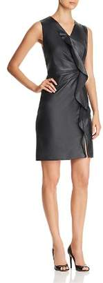Elie Tahari Marsala Leather Front Dress