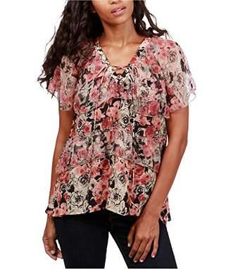 Lucky Brand Women's Ruffle Rose Top