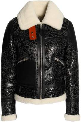 Coach Crackled Shearling Aviator Jacket
