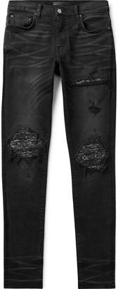 Amiri MX1 Skinny-Fit Panelled Distressed Stretch-Denim Jeans - Men - Black